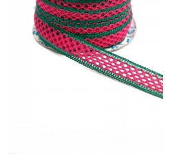 Lace Lace ribbon - Fuchsia and green - 20 mm