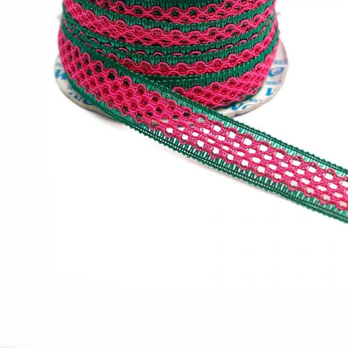 Lace ribbon - Fuchsia and green - 20 mm