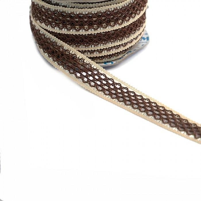 Ruban dentelle - Marron et beige - 20 mm