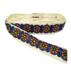 Bordado Bordado - Trivial - Azul, naranja y verde - 50 mm babachic