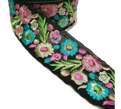 Embroidery Indian embroidery - Estival - Pink, blue and black - 55 mm