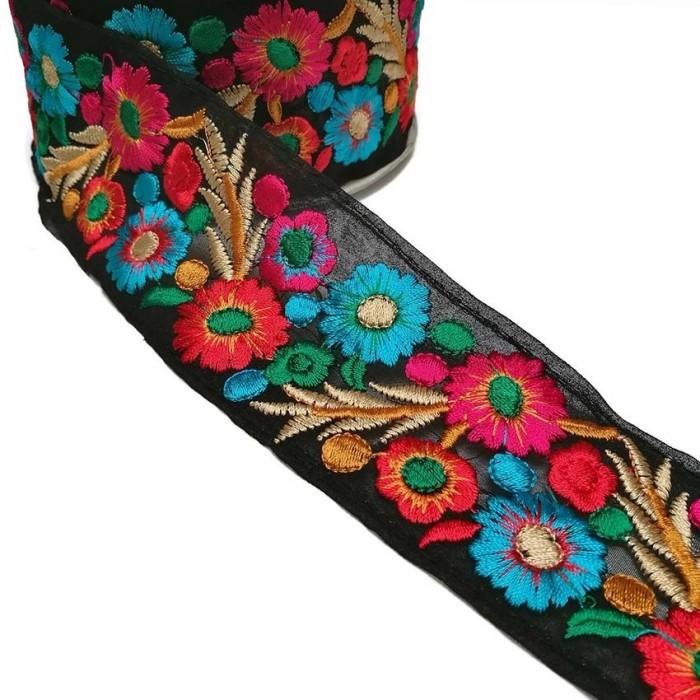 Bordado Indio - Estival - Rojo, rosa, azul y negro - 55 mm