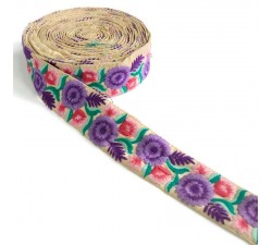 Embroidery Embroidery - Volubilis - Purple, pink and green - 50 mm babachic