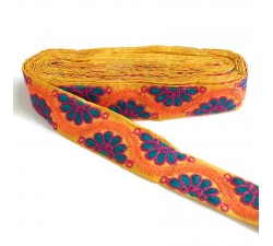 Broderies Broderie indienne - Bohême - Bleu, rose, orange et jaune - 45 mm babachic
