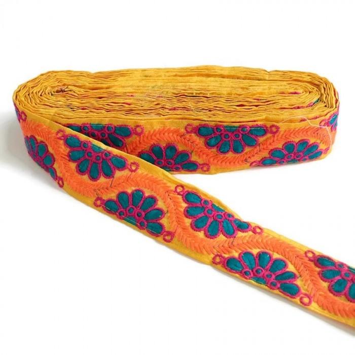 Broderie indienne - Bohême - Bleu, rose, orange et jaune - 45 mm