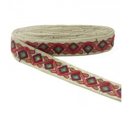 Bordado Pasamanería étnica - Jungla - Rojo, marrón, azul, verde y beige - 45 mm