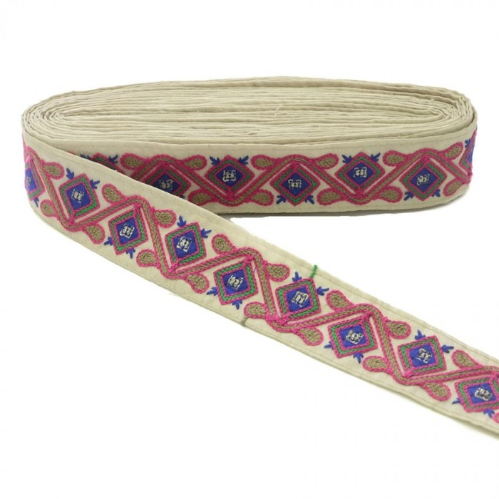 Broderies Passementerie ethnique - Jungle - Rose, marron, vert, bleu et beige - 45 mm babachic