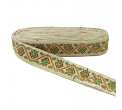 Broderies Passementerie ethnique - Jungle - Jaune, rouge, vert, marron et beige - 45 mm