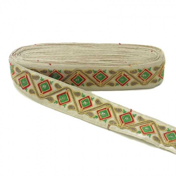 Broderies Passementerie ethnique - Jungle - Jaune, rouge, vert, marron et beige - 45 mm babachic