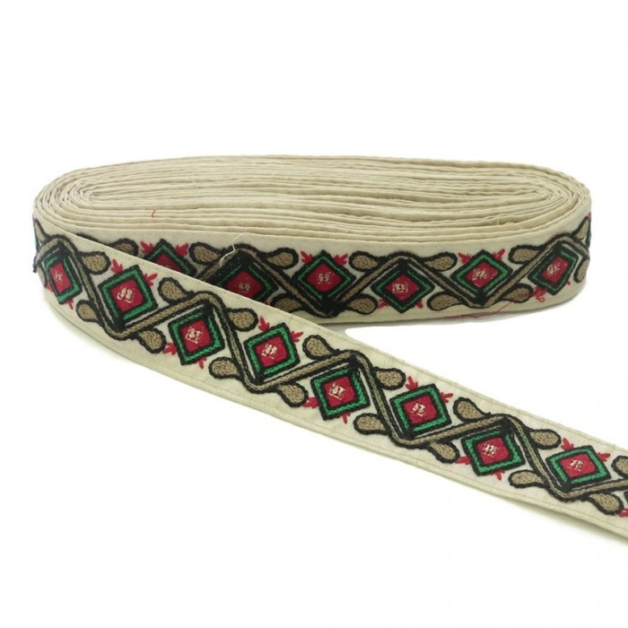 Passementerie ethnique - Jungle - Noir, rouge, vert, marron et beige - 45 mm
