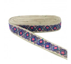 Embroidery Ethnic embroidery - Jungle - Blue, pink, green, brown and beige - 45 mm babachic