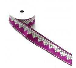 Rubans Ruban zigzag - Fuchia et blanc - 40 mm