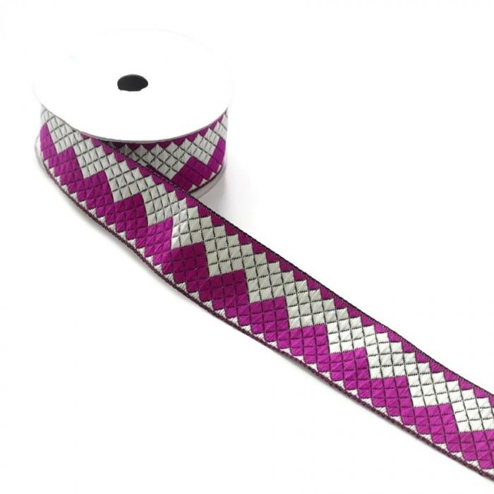 Ruban zigzag - Fuchia et blanc - 40 mm