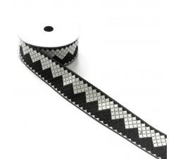 Rubans Ruban zigzag - Noir et blanc - 40 mm