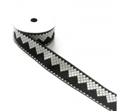 Ribbons Zigzag ribbon - Black and white - 40 mm