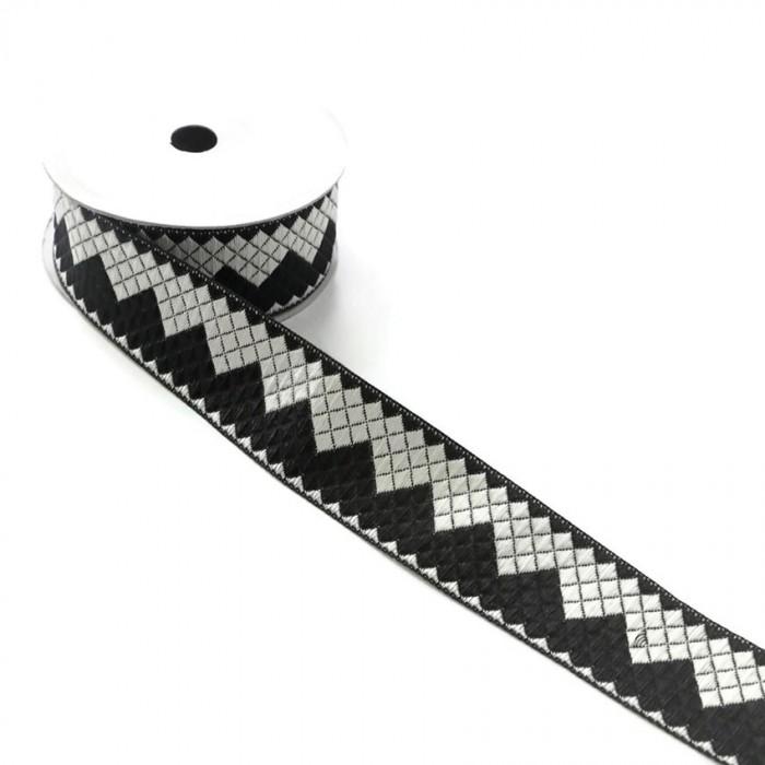 Ruban zigzag - Noir et blanc - 40 mm