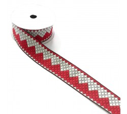 Ribbons Zigzag ribbon - Red and white - 40 mm