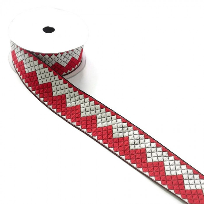 Zigzag ribbon - Red and white - 40 mm