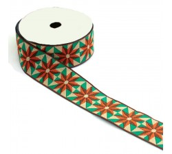 Ribbons Ribbon Sun - Orange, brown, green and beige - 40 mm babachic