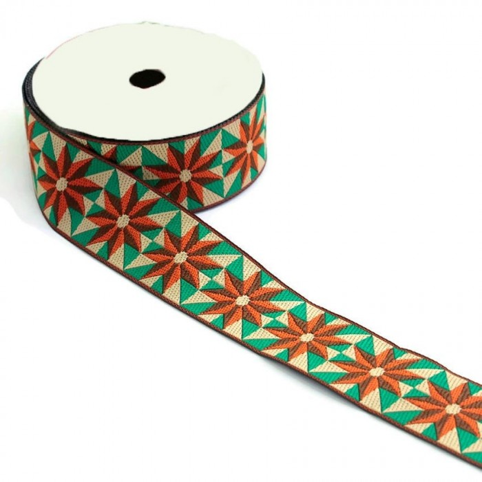 Ribbon Sun - Orange, brown, green and beige - 40 mm