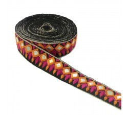 Embroidery Ethnic embroidery - Diadem - Orange, pink, black and golden - 40 mm babachic