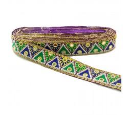Bordado Bordado Indio - Triángulos - Verde, azul, amarillo, blanco y morado - 40 mm babachic