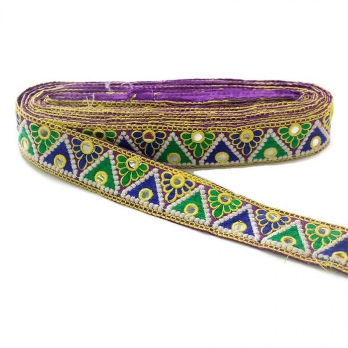 Broderie Indienne - Triangles - Vert, bleu, jaune, blanc et violet - 40 mm
