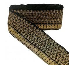 Bordado Pasamanería India - Piñas - Negro y dorado - 80 mm