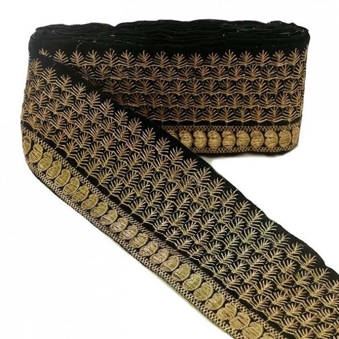 Pasamanería India - Piñas - Negro y dorado - 80 mm