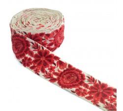 Broderies Passementerie bohème - Fleur rouge - 80 mm