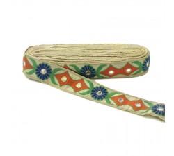 Broderie ethnique - Tribal - Orange, vert, bleu, beige et doré - 40 mm