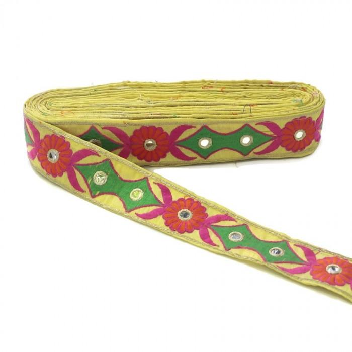 Broderie ethnique - Tribal - Vert, rose, orange, jaune et doré - 40 mm