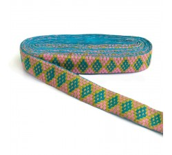 Blue Graphic embroidery - Rhombus - Blue, yellow, pink and green - 40 mm