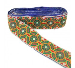 Embroidery Ethnic trimming - Peru - Green, red, yellow, pink and orange - 65 mm babachic