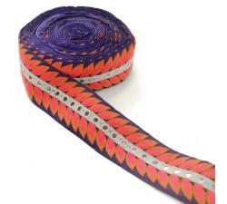 Bordado Bordado Indio - César - Naranja, rosa, blanco y azul - 60 mm babachic