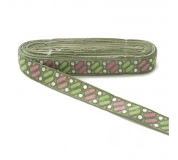 Embroidery Ethnic embroidery - Dragibus - Green, pink and white - 30 mm babachic