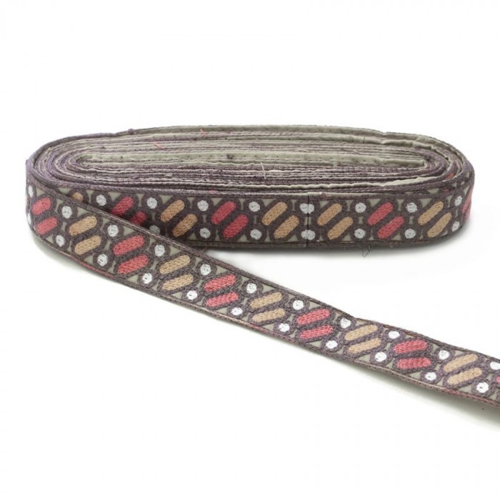 Embroidery Dragibus - Salmon, pink and white - 30 mm