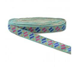 Bordado Bordado étnico - Dragibus - Azul celeste, rosa, azul y naranja - 30 mm