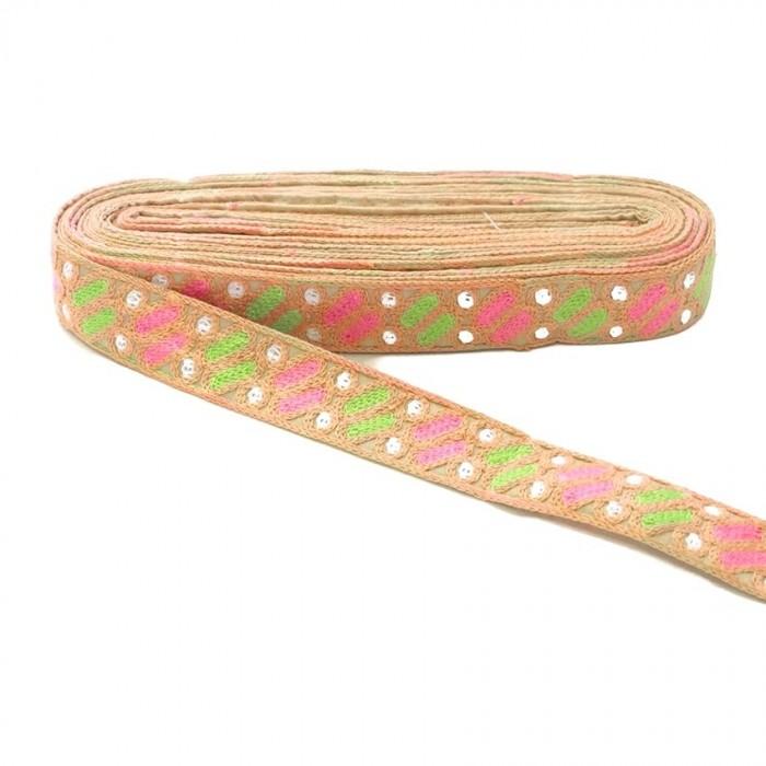 Bordado étnico - Dragibus - Salmón, rosa, verde y blanco - 30 mm