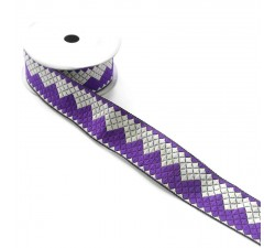 Ribbons Zigzag ribbon - Purple and white - 40 mm babachic