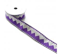 Rubans Ruban zigzag - Violet et blanc - 40 mm babachic