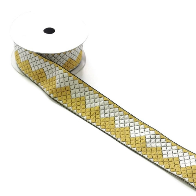 Ruban zigzag - Jaune et blanc - 40 mm