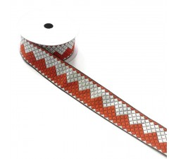 Ruban zigzags - Orange et blanc - 40 mm