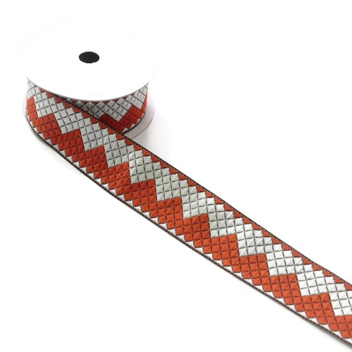 Cinta zigzag - Naranja y blanco - 40 mm