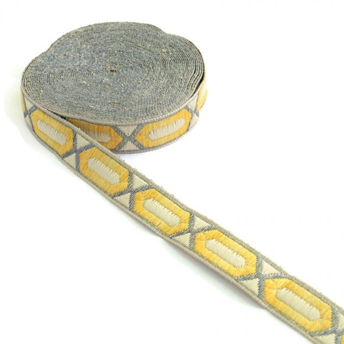 Elogated hexagon ribbon - Yellow, beige and silver - 20 mm