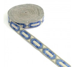 Ribbons Elogated hexagon ribbon - Blue, beige and silver - 20 mm
