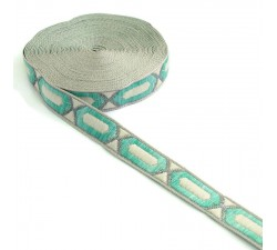 Ribbons Elogated hexagon ribbon - Turquoise, beige and silver - 20 mm