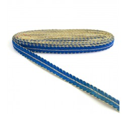 Embroidery Embroidered braid - Petals - Blue and golden - 20 mm babachic