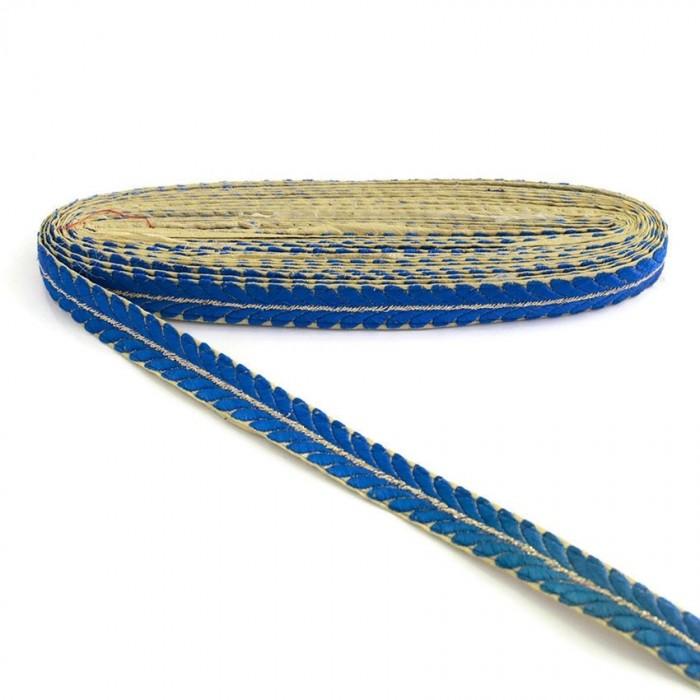 Galon brodé - Pétales - Bleu et doré - 20 mm
