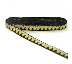 Bordado Bordado - Guirnalda de hojas - Amarillo, blanco y negro - 25 mm babachic